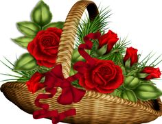 """Photo from album """"Декор разный"""" on Yandex. Rose Basket, Flower Basket, Decoupage Printables, Montage Photo, Photocollage, Cute Clipart, Borders And Frames, Red Roses, Flower Power"""