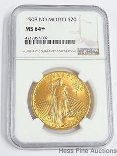1908 No Motto MS 64 Plus Saint St Gaudens Double Eagle NGC Gold $20 Coin