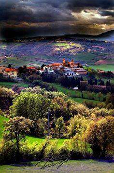 The fields around the castle of Castelluccio di Norcia, Italy