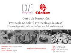 """¡¡¡Más novedades para este lunes!!!  Comenzamos a colaborar con Cáritas, para dar Cursos de Formación.   El primero, se desarrollará el próximo 11 de Mayo, en Conil de la Frontera, de 17:00 a 20:00h y aprenderemos sobre """"El Protocolo en la Mesa"""".  Reserva ya tu plaza.  LOVE @caritas_diocesana #love #amor #formacion #curso #protocolo #Caritas #wedding #e#weddingplanner #weddinginspiration #weddingplannerCádiz #Cádiz #conildelafrontera #boda #eventos #beautiful #happy #gayboy #feliz #inlove…"""