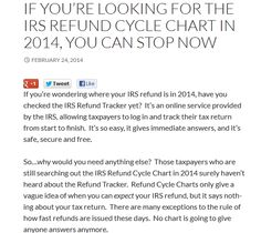 If You're Looking For the IRS Refund Cycle Chart in 2014, You Can Stop Now
