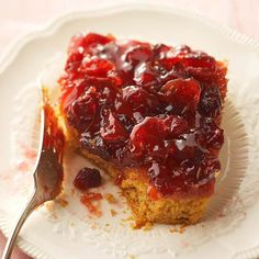 16 of 33  Pumpkin-Cherry Upside-Down Cake  A sweet-tart cherry and cranberry sauce makes this moist cake sing. Serve it at your next dinner party or as an alternative to traditional pumpkin pie on Thanksgiving.