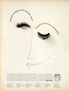1966 black and white print ad for the Inga Lash from Inga Borg, Inc. 8665 Wilshire Boulevard, Beverly Hills, California.