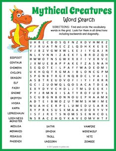 Your students will enjoy looking for all of the fun mythical creatures hidden in this puzzle worksheet. The words are hidden in all directions making this a challenging word search. A great activity for early finishers or just for something fun to take home and enjoy.The 25 hidden vocabulary words are: Bigfoot, Centaur, Chimera, Cyclops, Dragon, Elf, Fairy, Gnome, Griffin, Hydra, Kappa, Leprechaun, Loch Ness Monster, Medusa, Mermaid, Pegasus, Phoenix, Satyr, Sphinx, Troll...