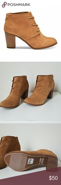 TOMS Women's Lunata Lace-Up Casual Shoe Brand new. Never worn. Perfect condition. Will ship in Toms box, with sticker, white toms shoe protector bag. Color: wheat suede Toms Shoes Ankle Boots & Booties