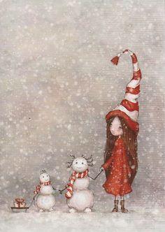 Christmas illustration, snowman, little girl, sled, Noel Christmas, Christmas Pictures, Winter Christmas, Vintage Christmas, Christmas Crafts, Christmas Decorations, Christmas Ornaments, Swedish Christmas, Magical Christmas