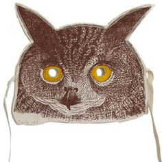 Handmade, Handprinted, Canvas Owl Mask. For adults and children. From the New York States of Mind Marketplace. Made in Brooklyn, NYC by Lucky Fish.