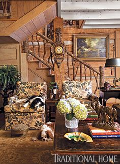"""Armchairs covered in """"Wheatflower"""" from Bennison Fabrics and a new Oushak rug proved irresistible to photographer Jenifer Jordan's two Cavalier King Charles Spaniels, the same breed of dog owned by designer Charles Faudree. French Country Style, French Country Decorating, French Decor, Rustic Style, English Style, Cabin Homes, Log Homes, Traditional Home Magazine, Enchanted Home"""