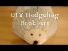 DIY Easy Hedgehog Book Art - this is a tutorial explaining one technique for folding a hedgehog. Other videos I've seen fold only the front and use goggly eyes. Ears could be made larger, and a bow could be added for a girl!