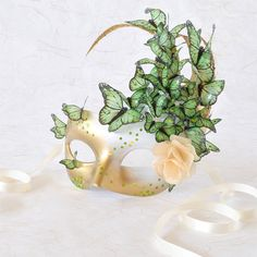 Venetian Mask of Peridot Butterflies, Rose - Gold, Green and White