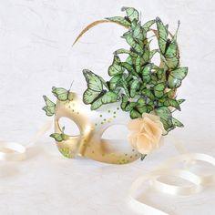Venetian Mask Peridot Butterflies, Rose - Gold, Green, White - Midsummer Fairy Masquerade, Mardi Gras, Cosplay, Bridal Mask, Halloween via Etsy