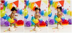 Rainbow cake smash theme, chicago cake smash photography session