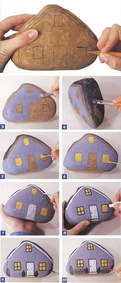 Step by step rock art! This easy step by step rock art or stone art can be used as a creative door-stop or to add some interest in a children's garden. Make a village of rock art with your children and have so much fun doing so! Pebble Painting, Pebble Art, Stone Painting, House Painting, Garden Painting, Rock Painting Patterns, Rock Painting Ideas Easy, Rock Painting Designs, Stone Crafts