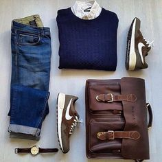 Great casual outfit grid we\'ll be covering leather satchels soon in an upcoming segment