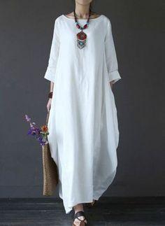 Solid Color Loose Casual Round Neck Maxi Dress – Plus Size Women's Clothing Boho Fashion, Fashion Dresses, Womens Fashion, Ethnic Fashion, Curvy Fashion, Fashion Rings, Vetement Hippie Chic, Dress Plus Size, Boho Plus Size