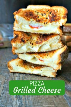 This Pizza Grilled Cheese is PERFECTION! Provolone, mozzarella, and Parmesan cheese are layered with pepperoni and toasted between two slices of garlic bread for a perfect grilled cheese that sings with pizza flavors. Finished by being served with Marinara Soup that is perfect for dipping. #pizzagrilledcheese #tomatosoup #soupandsandwich #grilledcheese via @amindfullmom