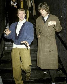 David Bowie & Mick Jagger at The China Club, Circa 85 💫 Mick Jagger Young, Emo, David Bowie Pictures, Old School Fashion, The Thin White Duke, Mikey Way, Hijab Fashion Inspiration, The Fab Four, Cute Friends