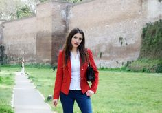 Lunch Outfit – Fleur d'Hiver, Chanel 2.55 Roma, red blazer, fashion blogger