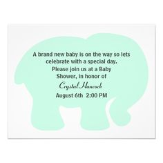 Tadellose Grüne Elefant Babyparty Einladung