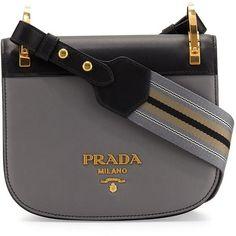Prada Pionni&re Web-Strap Shoulder Bag (81,595 DOP) ❤ liked on Polyvore featuring bags, handbags, shoulder bags, color block handbags, snap purse, prada, shoulder handbags and shoulder hand bags
