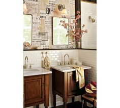 Vintage Recessed Medicine Cabinet | Pottery Barn love the subway tile and newsprint wallpaper! #potterybarn