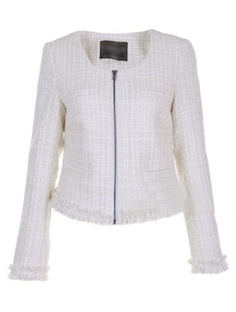 White Round Neck Long Sleeve Zipper Plaid Wool Outerwear - http://www.sheinside.com