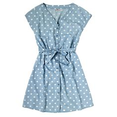 Button Spot Scallop Edge Chambray Dress | Cath Kidston |