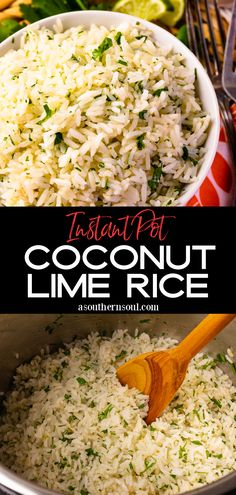 Learn how to make perfect rice every single time in the Instant Pot! Fluffy rice, made with coconut milk, lime zest, and juice, with a sprinkle of parsley is a fresh take on a traditional side dish that's excellent to serve any time of the year. Savoury Rice Recipe, Best Rice Recipe, Savory Rice, Pot Recipe, Best Side Dishes, Side Dish Recipes, Rice Recipes, Great Recipes, Delicious Recipes