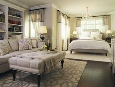 Leaside Master Bedroom - traditional - bedroom - toronto - by Laura Stein Interiors Apartment Bedroom Decor, Home Bedroom, Dream Bedroom, Studio Apartment, Bedroom Suites, Studio Apt, Dream Studio, Bedroom Curtains, Small Master Bedroom