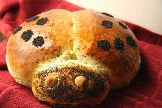 Ladybug bread by -Mellie-, via Flickr