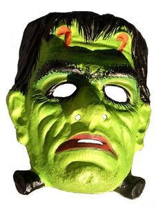 Frankenstein's monster - vintage retro plastic Halloween mask