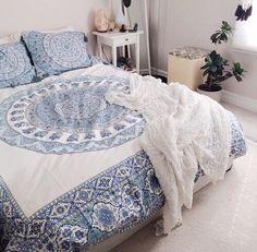 Image via We Heart It #bed #bedroom #blue #bohemian #boho #decor #grunge #hippie #hipster #indie #mandala #plant #room #roomdecor #tumblr #urbanoutfitters #white