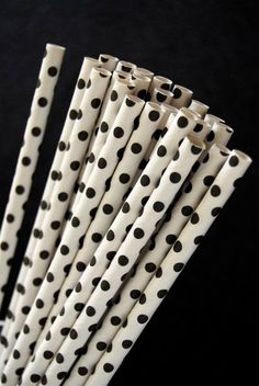 Black Mini Polka Dot Paper Straws and PDF by CupcakeSocial on Etsy, $4.25