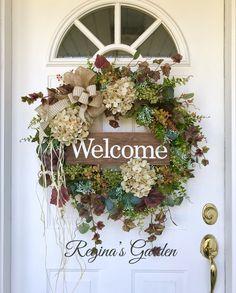 Hydrangea Wreath-Spring Wreath-Farmhouse Wreath-All Season Wreath-Welcome Sign Wreath-Front Door Wreath-Farmhouse Decor-Greenery Wreath by ReginasGarden on Etsy https://www.etsy.com/listing/576131458/hydrangea-wreath-spring-wreath-farmhouse