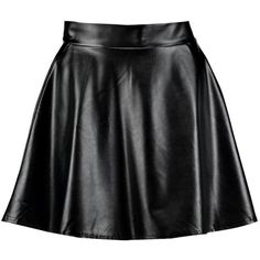 Boohoo Night Harlow Leather Look Full Skater Skirt (34 AUD) ❤ liked on Polyvore featuring skirts, calf length skirts, evening skirts, midi skater skirt, skater skirts and flared midi skirt