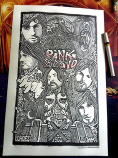 Pink Floyd Poster Letterpress Print by by Posterography on Etsy