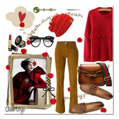 """Red & Brown"" by queenvirgo ❤ liked on Polyvore featuring Jitrois and Gucci"