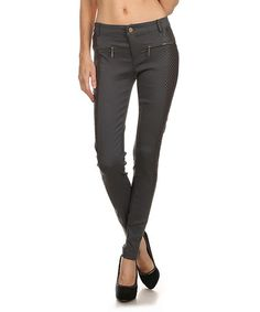 Look at this #zulilyfind! Gray Contrast Skinny Pants by Blue Night #zulilyfinds
