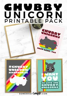 Chubby Unicorn Printables | These awesome retro Chubby Unicorn Printables are the perfect way to show family and friends your Chubby Unicorns Pride!