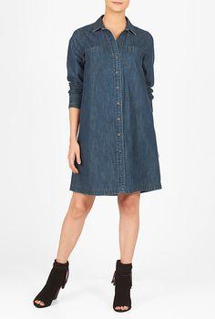 I <3 this Cotton denim boyfriend shirtdress from eShakti