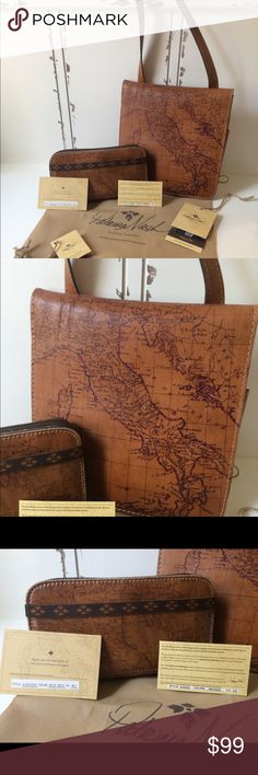 """Patricia Nash Signature Map Handbag and Wallet Only used this purse once or twice so it's in excellent condition. The wallet has been used more but still in good used condition.  Purse originally $129 and wallet orginally $99. Asking $99 for both.  """"An elegant map imbues this irresistible design from Patricia Nash with signature Old World appeal. Crafted in supple leather with handcrafted stitching, the convenient crossbody style is ideal for travels both near and far."""" Patricia Nash Bags…"""