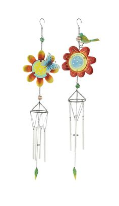 Colorful Glass Metal Wind Chime 2 Assorted