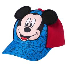 """Watch him smile at the Toddler Boys' Mickey Mouse™ Baseball Hat - Blue & Red. This toddler boys' hat has a 3.5"""" brim and Mickey Mouse ears he'll love."""