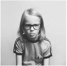 If I ever have a child, girl or boy, I hope they look like this...  grunge hair + frames + old Adidas tee.