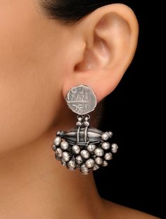 Silver Coin Earrings with Ghungroos Indian Jewelry Earrings, Silver Jewelry Box, Jewelry Design Earrings, Silver Jewellery Indian, Gold Earrings Designs, Tribal Jewelry, Silver Rings, Jewelry Art, 925 Silver