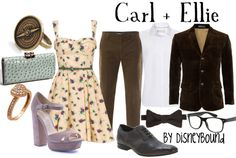 Disney Bound: Carl + Ellie from Disney Pixar's Up (Couple Outfit) Robes Disney, Disney Dress Up, Disney Clothes, Cosplay Casual, Dapper Day Outfits, Disneybound Outfits, Disney Dapper Day, Disney Inspired Fashion, Disney Fashion