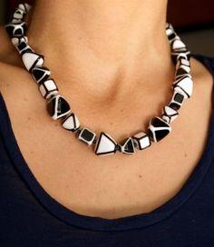 Cubi Lampwork Sterling Silver Necklace- © sklo+Ag 925