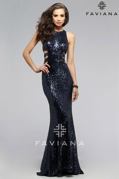 Navy sequin evening dress with low cut-out back   Faviana Style 7705