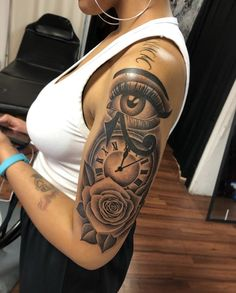 Dope Tattoos For Women, Black Girls With Tattoos, Chest Tattoos For Women, Girls With Sleeve Tattoos, Tattoo Women, Badass Sleeve Tattoos, Black Men Tattoos, Forarm Tattoos, 4 Tattoo