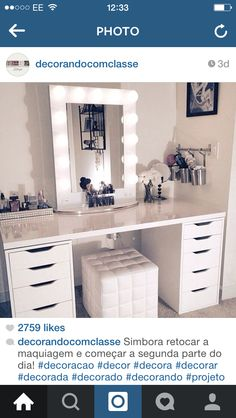 Perfect make up table for my walk in closet.